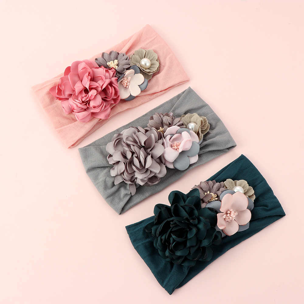 Toddler Girls Kid Baby Bow Hairband Elastic Headband Cute 3D Flower Stretch Turban Flower Head Wrap Princess Hair Accessories