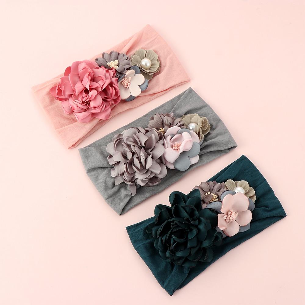 Toddler Girls Kid Baby Bow Hairband Elastic Headband Cute 3D Flower Stretch Turban Flower Head Wrap Princess Hair Accessories(China)
