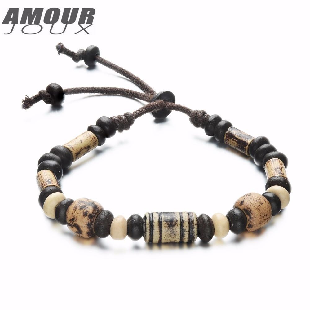 AMOURJOUX Ethnic Handmade Clay Beads Charm Bracelets For Men Women Vintage Hand-woven Rope Size Adjustable Hand Wrist Bracelet