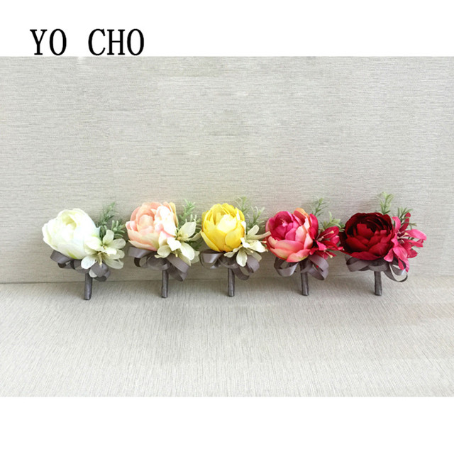 Yo Cho Silk Wedding Guest Corsage Flower Bridesmaid Bestman Boutonniere Party Prom Diy Delicate Colourful Rose