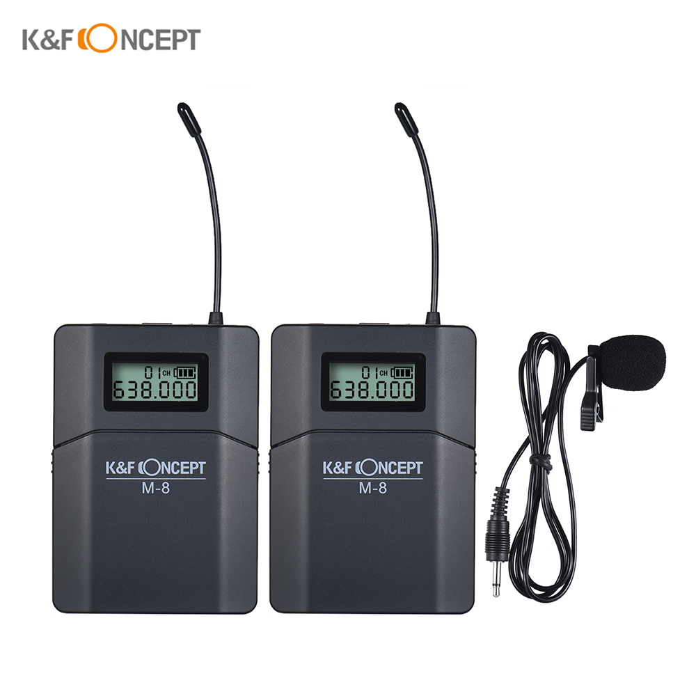 K F CONCEPT M 8 UHF Wireless Lavalier Lapel Microphone Mic w Transmitter Receiver Unidirectional Mic