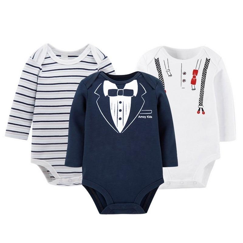 3pcs / set Baby Boys Qızlar Uzun Qollu Rompers 100% Pambıq Yenidoğulmuş Körpələrin Geyimləri Toddler Costume Jumpsuit KF110