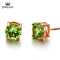 Natural olivine 18K Pure Gold Earring Real AU 750 Solid Gold Earrings Diamond Trendy Fine Jewelry Hot Sell New 2019