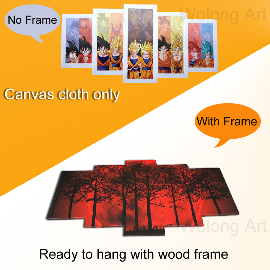 5 piece Canvas Painting Angel Girl Wings Fire and Ice Prints ...