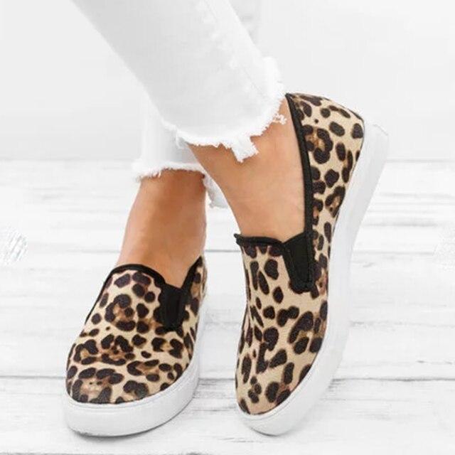 WENYUJH Женские туфли-лодочки 2019 модная леопардовая женская повседневная обувь летние дамские туфли на плоской подошве Лоферы Туфли без каблуков обувь в римском стиле черный