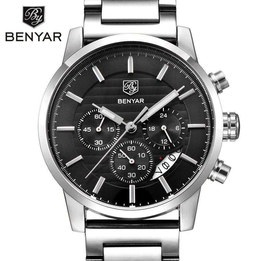BENYAR Marke Mode Chronograph Sport Uhren Reloj Hombre Edelstahl Band Quarz Militäruhr Clock Relogio Masculino
