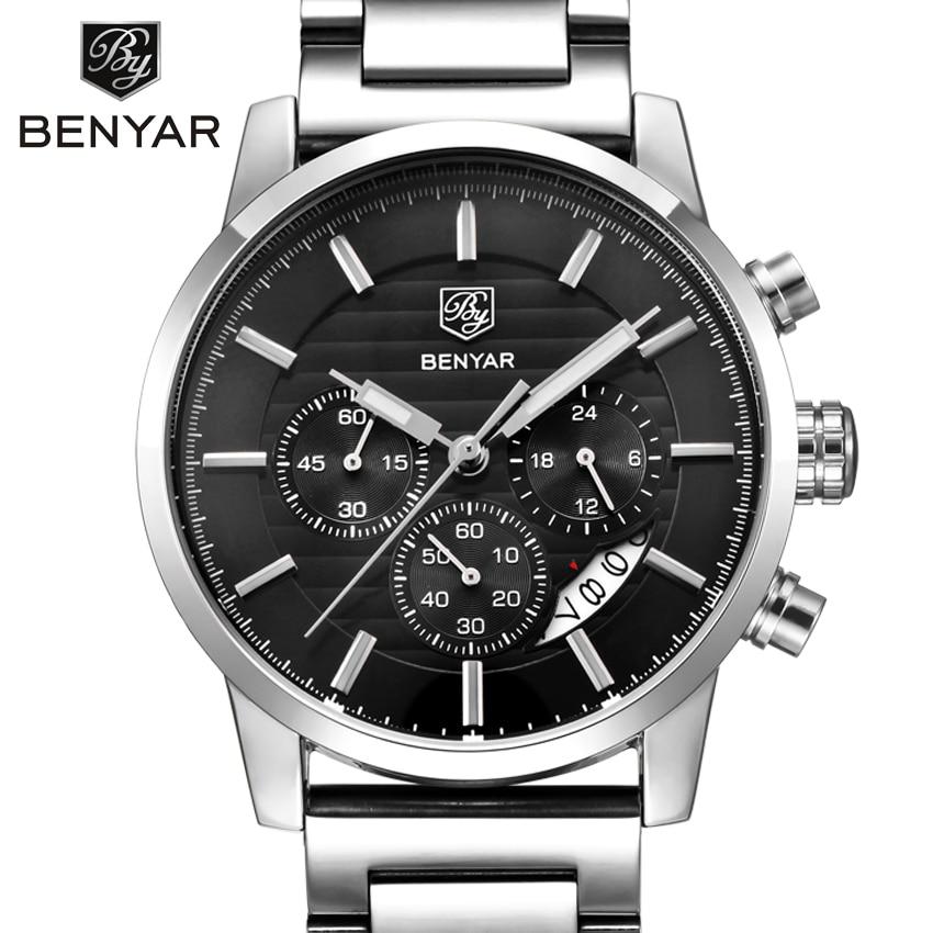 BENYAR Brand Fashion Chronograph Sport Watches Reloj Hombre Stainless Steel Strap Quartz Military Watch Clock Relogio Masculino nib rotary encoder e6b2 cwz6c 5 24vdc 800p r
