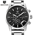 BENYAR Marca de Moda Del Deporte Del Cronógrafo Relojes de Hombre Reloj de Cuarzo Correa de Acero Inoxidable Reloj Militar Reloj Relogio masculino