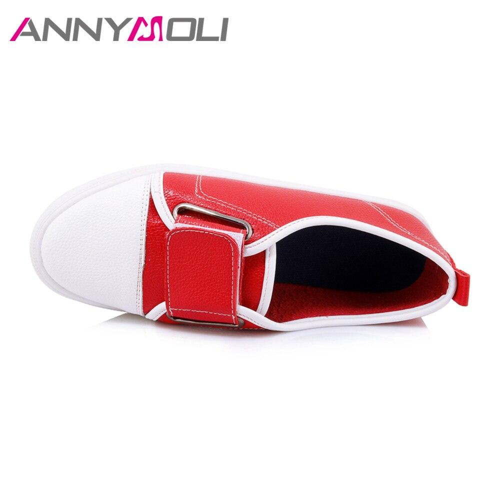 Noir Taille Noir Automne L'école Chaussures rouge Appartements Casual 12 Printemps Creepers Grande Sur blanc Les Glissent Rouge Femmes Annymoli Blanc TZwqPP