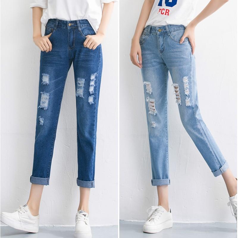 Women`s Plus Size High Waist Washed Light Blue True Denim Pants Boyfriend Jean Femme For Women Jeans fashion women high waist blue jeans denim pants boyfriend jean femme jeans trousers plus size s 2xl