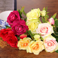6PCs Lot Silk Flower 3 Heads Peony Rose Artificial Flowers Fake Rose Leaf For Party Wedding