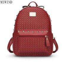 Новый женский рюкзак известные бренды плечи Женские дорожные Сумки из искусственной кожи с заклепками рюкзак черный мешок школы женский рюкзак T840