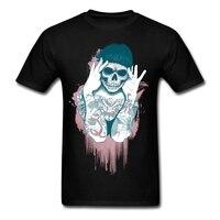 97 Tattoo Skull Head Clothes Hip Hop Men 100 Cotton Tee Custom Printed 100 Cotton Teenage