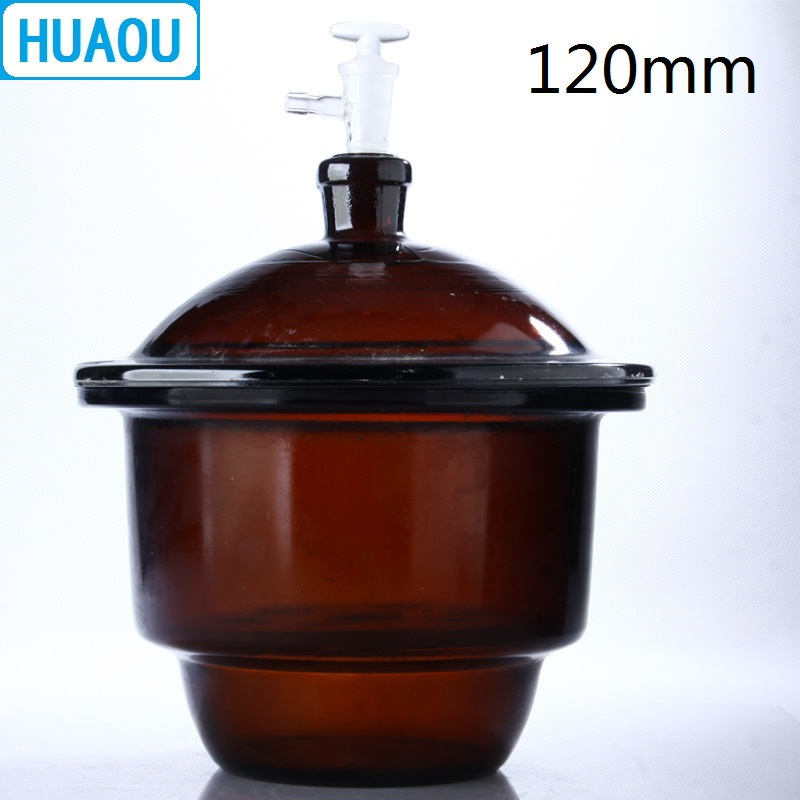 HUAOU 120mm Vacuum Desiccator with Ground - In Stopcock Porcelain Plate Amber Brown Glass Laboratory Drying Equipment retro round 2 in 1 plain glass flip resin lens sunglasses amber brown