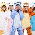2016 de Dibujos Animados de Dormir Unisex Otoño e Invierno Pijamas Mujeres Pijama de Franela Pijamas Animal Stitch Unicorn Onesies Panda