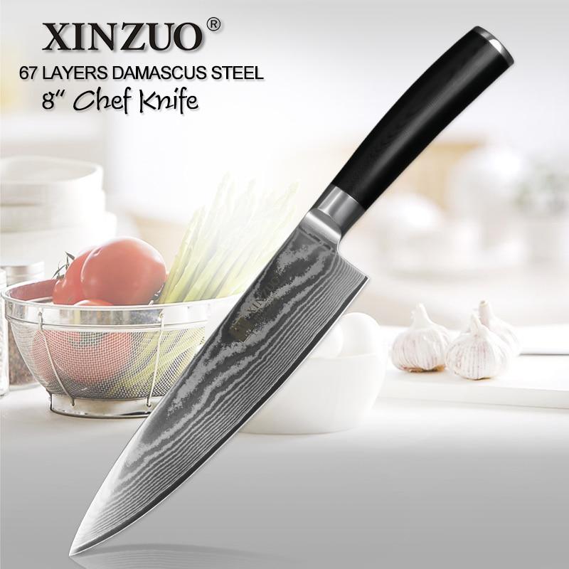 XINZUO 8 Chef Couteau vg10 Damas Couteaux de Cuisine En Acier Inoxydable Japonais Professionnel Couteau Chef Cleaver Cuire Outils G10 Poignée