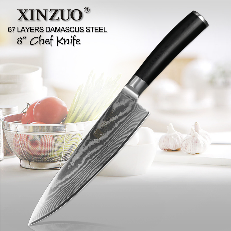XINZUO 8 Chef Knife vg10 Damascus Japanese Stainless Steel Kitchen Knives Professional Knife Chef Cleaver Cook Tools G10 HandleXINZUO 8 Chef Knife vg10 Damascus Japanese Stainless Steel Kitchen Knives Professional Knife Chef Cleaver Cook Tools G10 Handle
