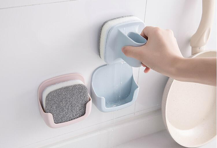 1PC Kitchen Cleaning Brush Hold Rack Sponge Wall Mounted With Handle Pot Clean Brush Magic Sponge Eraser Bath Brush Rack OK 0854 in Cleaning Brushes from Home Garden
