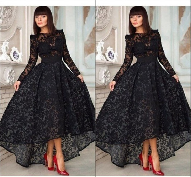 ed0bd69bb17 2017 Black Lace Long Sleeve Evening Dress Kadisua with Sheer Scoop Neckline  Appliques High Low Formal Party Gowns Long RG235