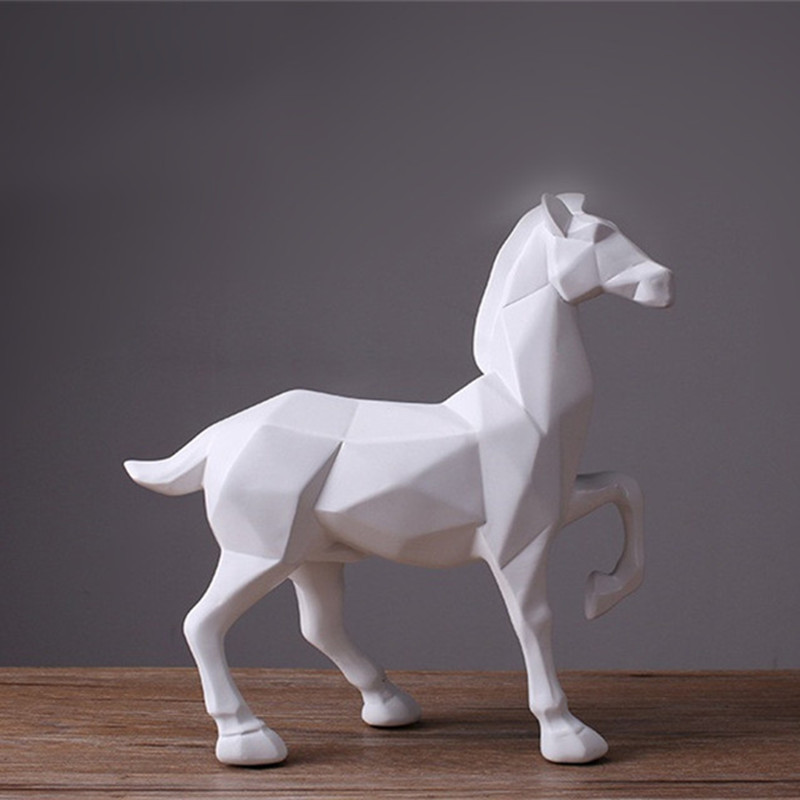 Nordic Style Modern Abstract White Horse Statue Resin Ornaments Home Decoration Accessories Gift Geometric Resin Horse