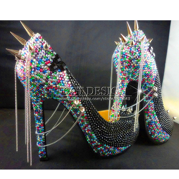 2015 Sexy Women Black Rhinestone Rivet High Heels Wedding Party Prom Shoes With Silver Spikes Rivet Pumps Free Shipping 2015 sexy women black rhinestone rivet high heels wedding party prom shoes with silver spikes rivet pumps free shipping