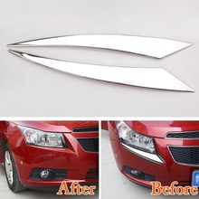 Car Headlight Head Lamp Cover Trim Chrome ABS Eyebrow Decor Sticker Styling Accessories For Chevy Chevrolet Cruze 2009-2014 2015 for chevrolet cruze led head lamp 2009 to 2011 v4 type