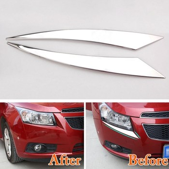 цена на For Chevrolet CRUZE 2009 2010 2011 2012 2013 2014 Headlight Cover Trim Chrome Head Lamp Eyebrow Stickers Car Styling Accessories