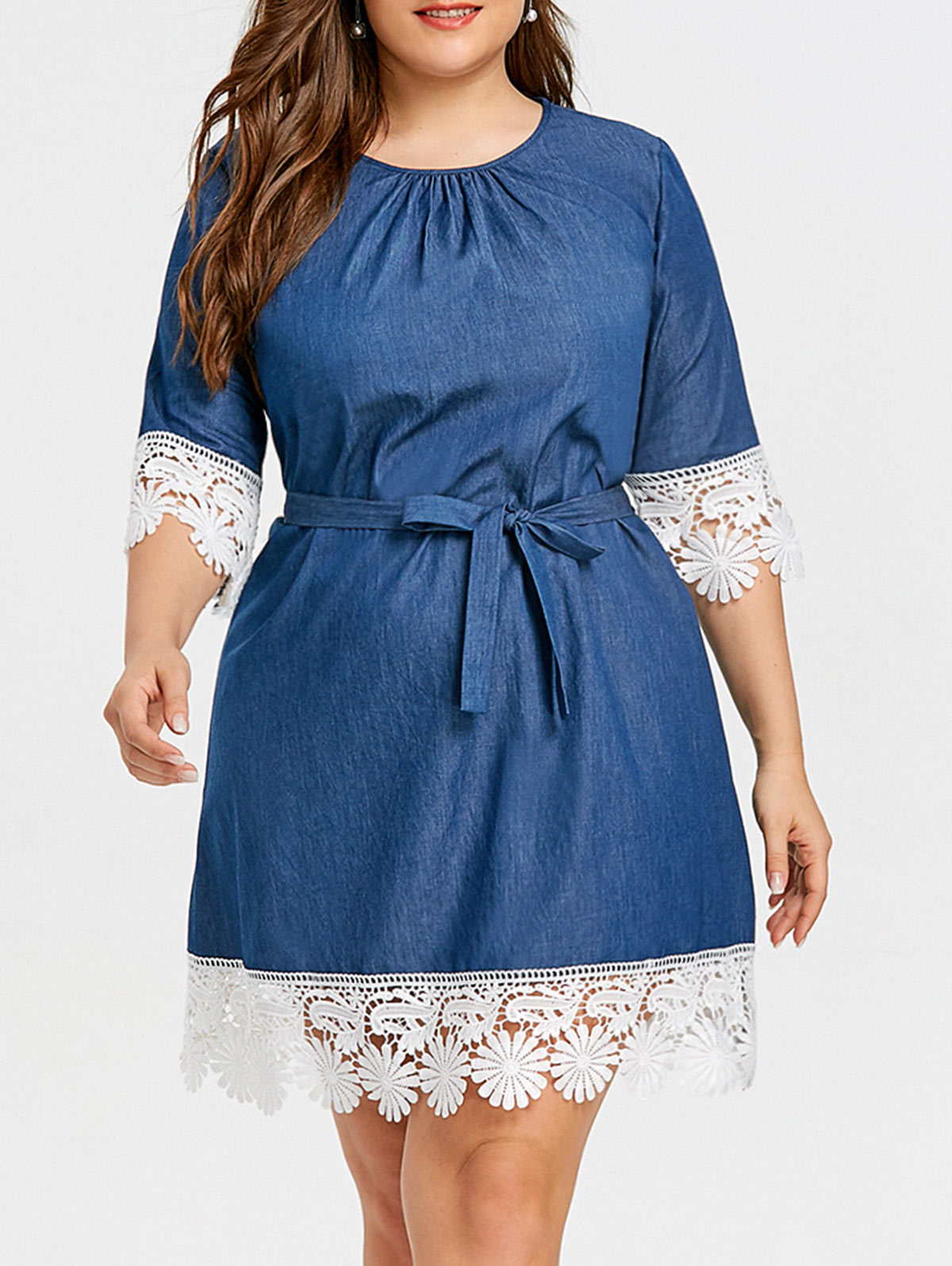 0e589003a8 Soft Denim Dress Big Size 2018 Autumn Women Half Sleeve Lace Hem ...