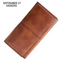 Long Wallet Genuine Leather Handmade Luxury Retro Multifunctional Men Clutch Phone Wallets Vintage Women Credit Card Coin Purses