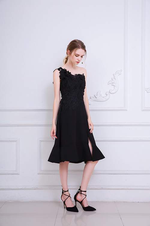 Embroidery Black Colour Midi Dress Bridemaid Dress Women Wedding Party Dress One Shoulder