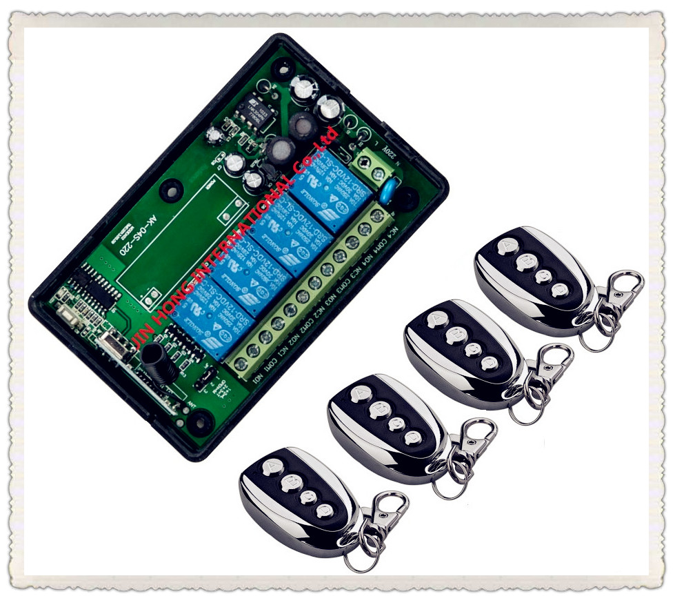 AC 85V~250V 110V 220V 4CH Wireless Remote Control Switch System Remote Switch Learning Code Receiver + 4PCS Metal Transmitter chunghop rm l7 multifunctional learning remote control silver