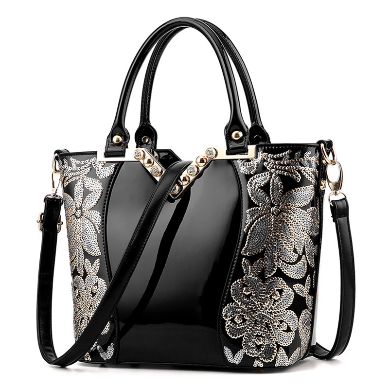 2017 European Style Sequins Embroidery Handbags Famous Brands Designer High Quality  Ladies Fashion Patent leather Crossbody Bag icev luxury designer high quality patent split leather women s handbags famous brands lace embroidery messenger bag ladies tote