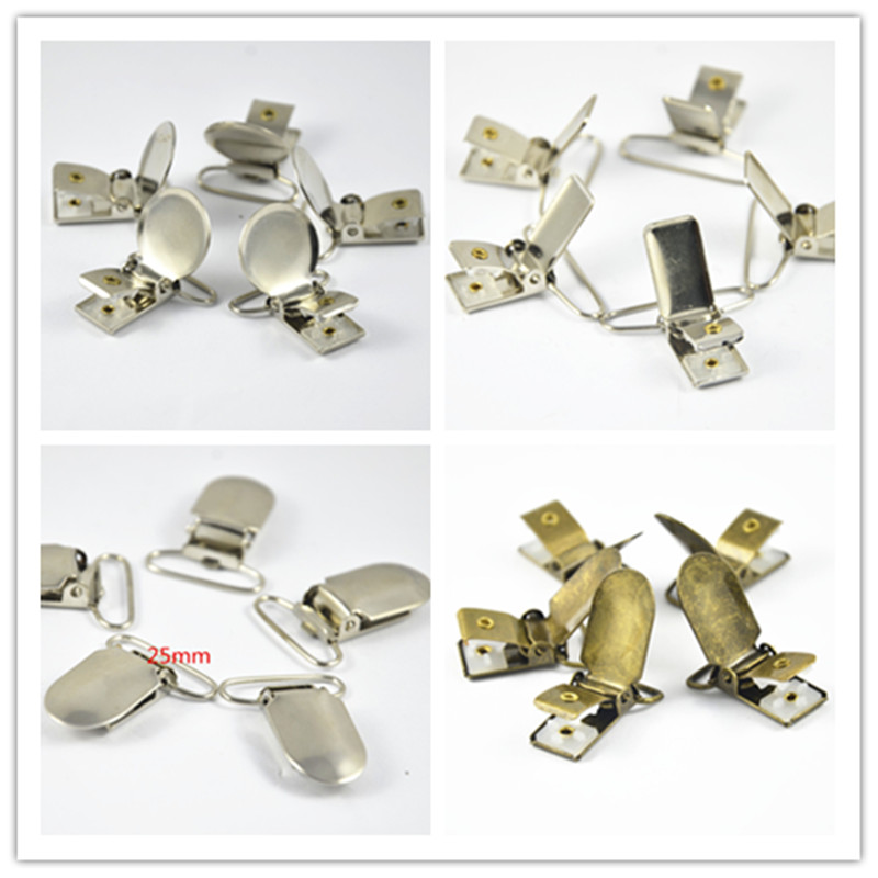 20Pcs Metal Oval Round Rectangle Baby Metal Suspender Pacifier Holders Clips With Plastic Insert Craft Sewing Tool U-Shape