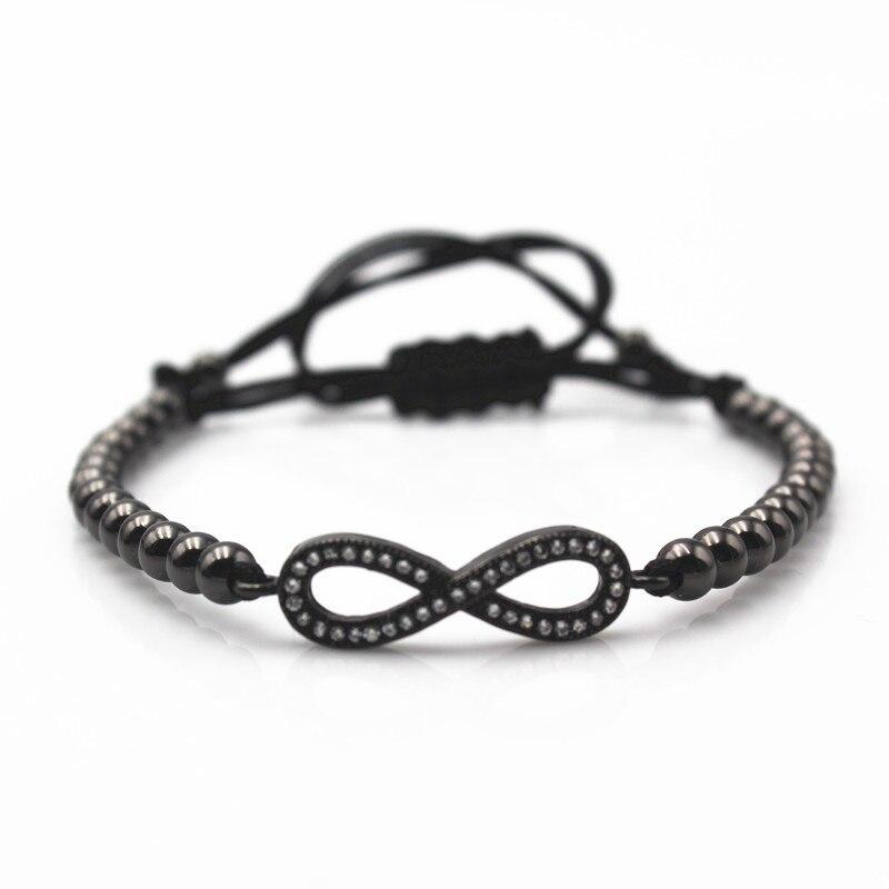 Anil Arjandas Men Girl Charm Bracelets,4mm Black Gun Plated Beads& Famous Brand Logo Micro Pave Black CZ Beads Free shipping