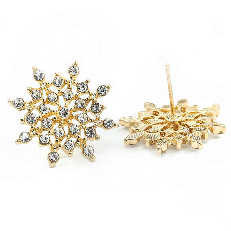 ... Full Rhinestone Snowflake Stud Earrings Gold Color Silver Lucky Crystal  Zircon Snow Flower Earring For Women deffd5fd8d19