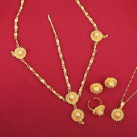 Fashion Ethiopian Jewelry Sets With Hair Chain Gold And Silver Plated Jewelry For Ethiopian Women Accessories