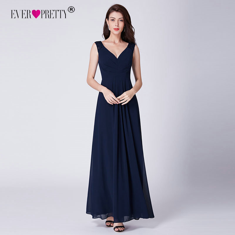Chiffon Cocktailjurk.Navy Blue Bridesmaid Dresses Chiffon A Line Elegant Party Dresses