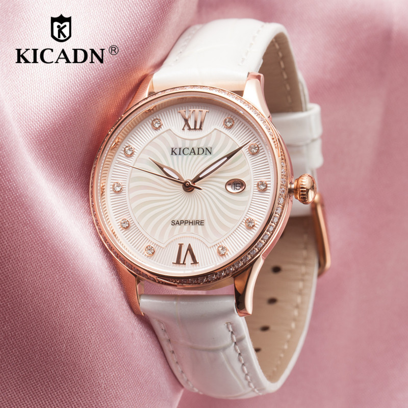 Fashion Ladies Quartz Watch Women Elegant Dress Crystal Watch Female Leather Strap Watches KICADN Brand Luxury Gold Montre Femme fashion women watches women crystal stainless steel analog quartz wrist watch bracelet luxury brand female montre femme hotting