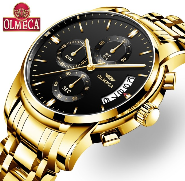 OLMECA Jam Tangan Analog Pria Luxury Sports 3ATM Waterproof Clock Chronograph Stainless Steel Band *32900004896