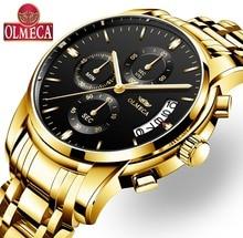 OLMECA Relogio Masculino Для мужчин часы роскошные часы 3ATM Водонепроницаемый часы наручные часы-хронограф Нержавеющаясталь группы и кожа