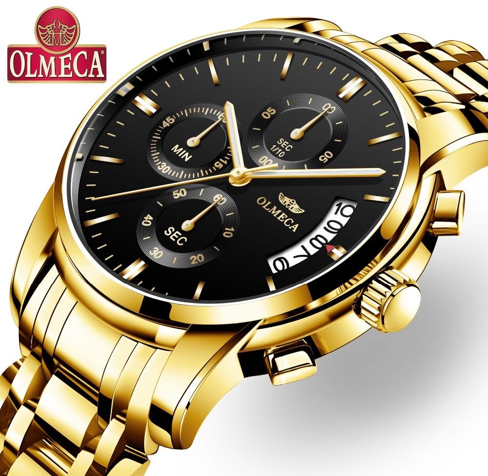 OLMECA Relogio Masculino hombres reloj relojes de lujo 3ATM impermeable reloj cronógrafo reloj banda de acero inoxidable y cuero