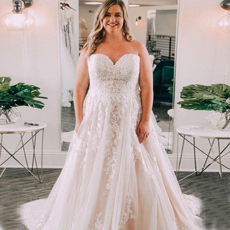 Plus Size Wedding Dresses 2019 Sweetheart Appliques With Train White Ivory Vestido De Novia Zipper Back Wedding Gowns