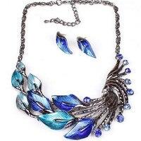 Elegant Women Jewelry Sets Lady Purple Peacock Enamel Bib Statement Necklace Largos Collier Femme Big Earrings