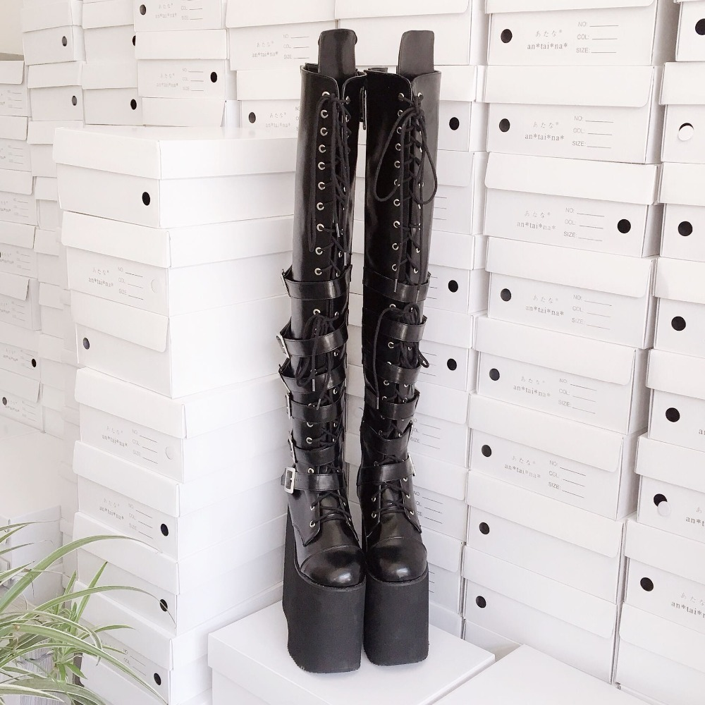 20cm-High-Platform-Japanese-Style-Black-Over-the-Knee-Lolita-Thigh-Boots-Lace-Up-Princess-Uniform-Winter-Boots- 10