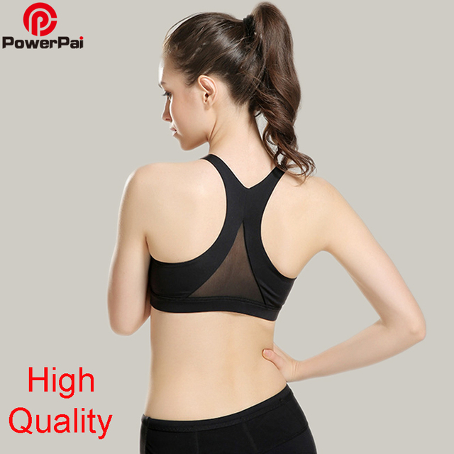 170f37f31ffeb High quality Back Mesh Lace Yoga Sports Bra Crop Top Women Running Gym  Fitness Padded Underwear Workout Vest Tank Push Up Bras