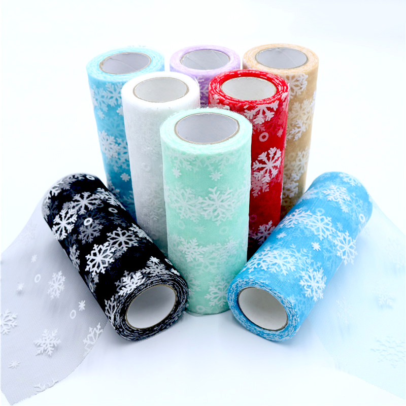 15cm*10yards Snowflake Tulle Roll Organza Sheer Wrap Gift Bow Fabric DIY Craft Tutu Skirt Wedding Party Christmas Decoration