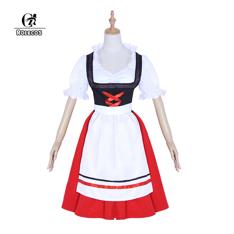 Constructive Rolecos Oktoberfest Beer Girl Cosplay Costume Polyester Dress Apron For Women Party Cosplay Clothing Halloween Festival Costume Excellent In Cushion Effect