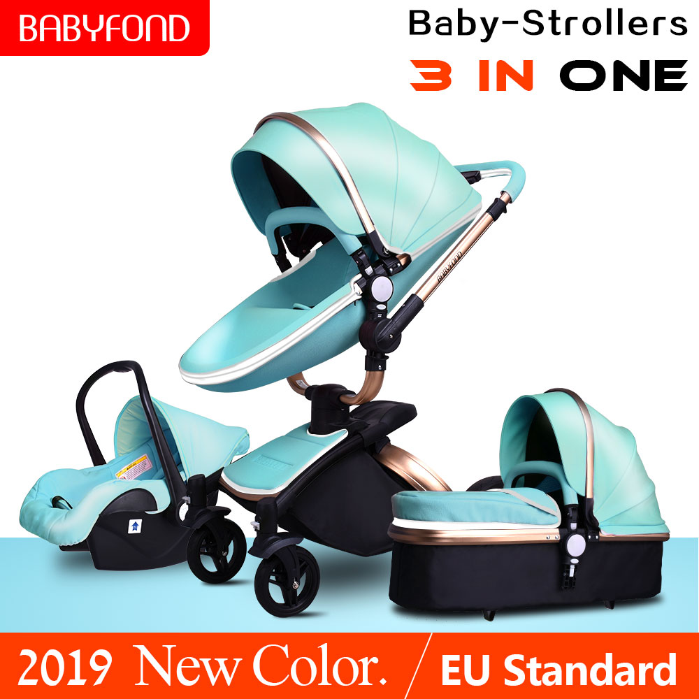 Babyfond Luxury Baby Stroller 3 in 1 Fashion Carriage EU Pram Folding baby pram no tax Free Shipping free gifts free tax