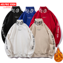 Aelfric Eden Fleece Sweatshirts Men Hip Hop Letter Print Turtleneck Pullovers