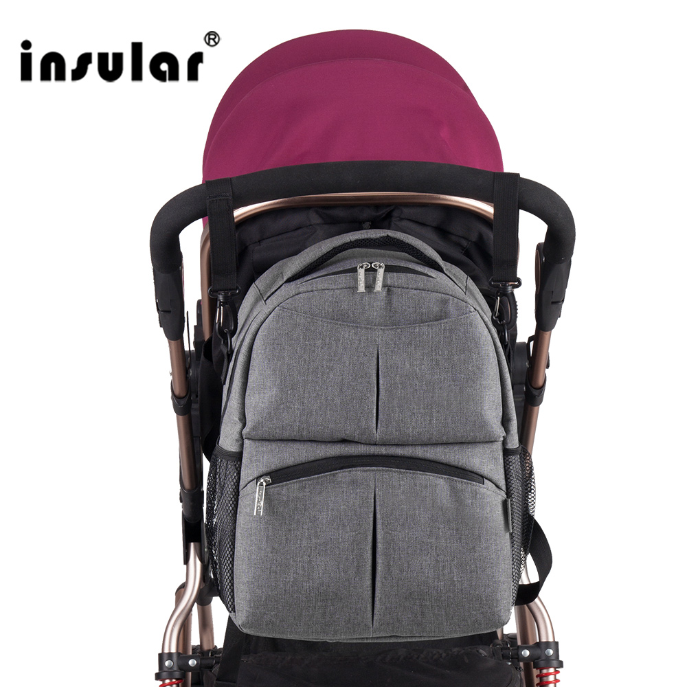 Insular Free Solid Color Baby Diaper Bag Backpack Multifunctional Mommy Bag Backpack Waterproof Nappy Backpack Shipping